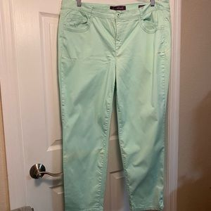 Mint green ankle length jeans